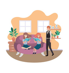 father and daughters sitting in couch avatar vector image