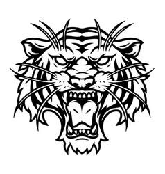 ferocious tiger head vintage template vector image