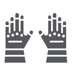 Firefighter gloves glyph icon clothes and vector