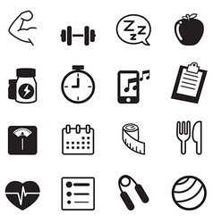 Fitness and dieting icons set vector