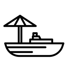 Floating market boat icon outline style vector