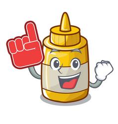 Foam finger homemade mustard sauce in cartoon vector