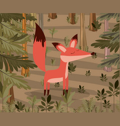 Fox in the forest scene vector
