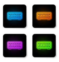 glowing neon digital alarm clock icon isolated on vector image