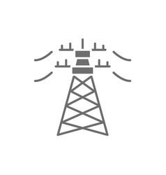 High voltage electric line pylon energy pole gray vector