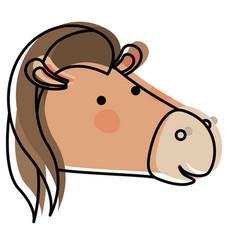 Horse cartoon head in watercolor silhouette vector