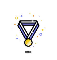icon of gold medal with striped ribbon vector image