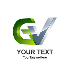 initial letter gv logo template colored silver vector image