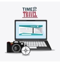 Laptop camera compass travel design vector