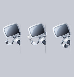 Little cute monitor head robot look out corner vector