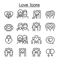 love icon set in thin line style vector image