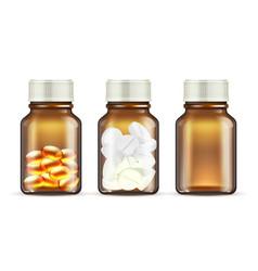 medicine glass bottles realistic pills bottle vector image