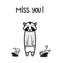 Miss you cute sad card raccoon vector