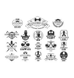 Monochrome set of stylish emblems for vector