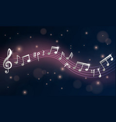 music notes musical poster silver note symphony vector image
