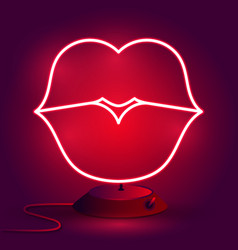 neon lips sign design element for happy vector image