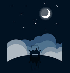 night landscape flat design background vector image