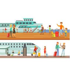People using public transport set passengers of vector