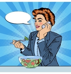 Pop Art Business Woman Talking on the Phone vector image