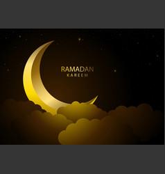 ramadan kareem greeting with crescent moon vector image