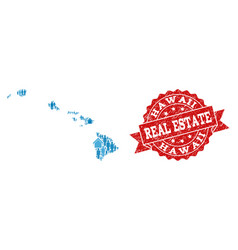 Real estate collage of mosaic map of hawaii state vector