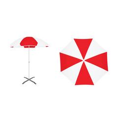 red and white sun umbrella vector image