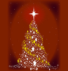 Red star spangled christmas tree vector