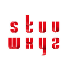 s t u v w x y z lowercase letters font from a red vector image