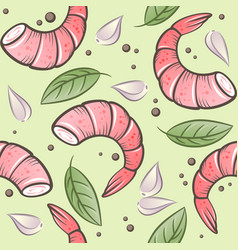 Seamless pattern shrimps garlic and spicy herbs vector