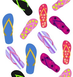 Seamless pattern with flip flops Summer background vector image