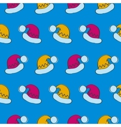 Seamless Pattern with Santa Claus Hats vector image