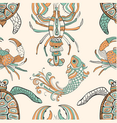 Seamless pattern with turtles crabs lobsters and vector