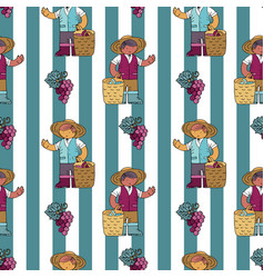 Seamless pattern with vine yard owner vector
