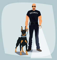 Security officer holding leash guard dog vector