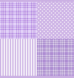 Set of 4 purple patterns striped plaid vector