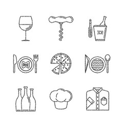 set of restaurant icons and concepts in sketch vector image