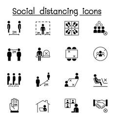 Set social distancing related icons contains vector