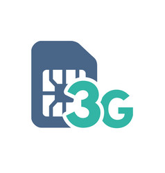 sim card with 3g network flat icon mobile slot vector image
