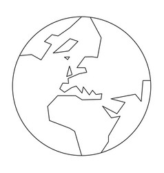 Simplified outline earth globe with map world vector