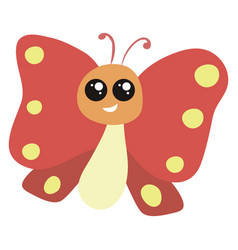 smiling red butterfly on white background vector image