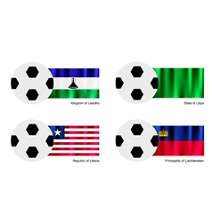 Soccer Ball of Lesotho Libya Liberia and Liech vector image