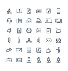 Thin line icons set with business and vector