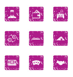 Tip icons set grunge style vector