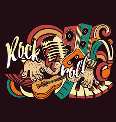 Vibrant bold music doodle for rock n roll vector