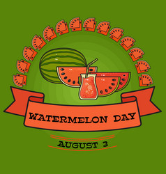 Watermelon day poster greeting card about vector