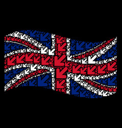 Waving british flag pattern of arrow down left vector