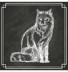 White fox sketch dark background vector