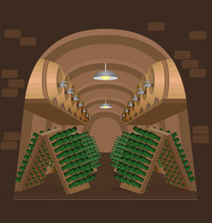 Wine cellar with stacked bottles and oak vector
