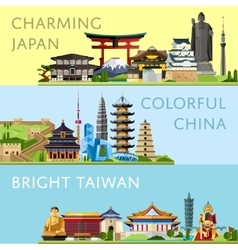 Worldwide travel set with famous attractions vector image