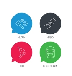 Wrench tool pliers and drill icons vector